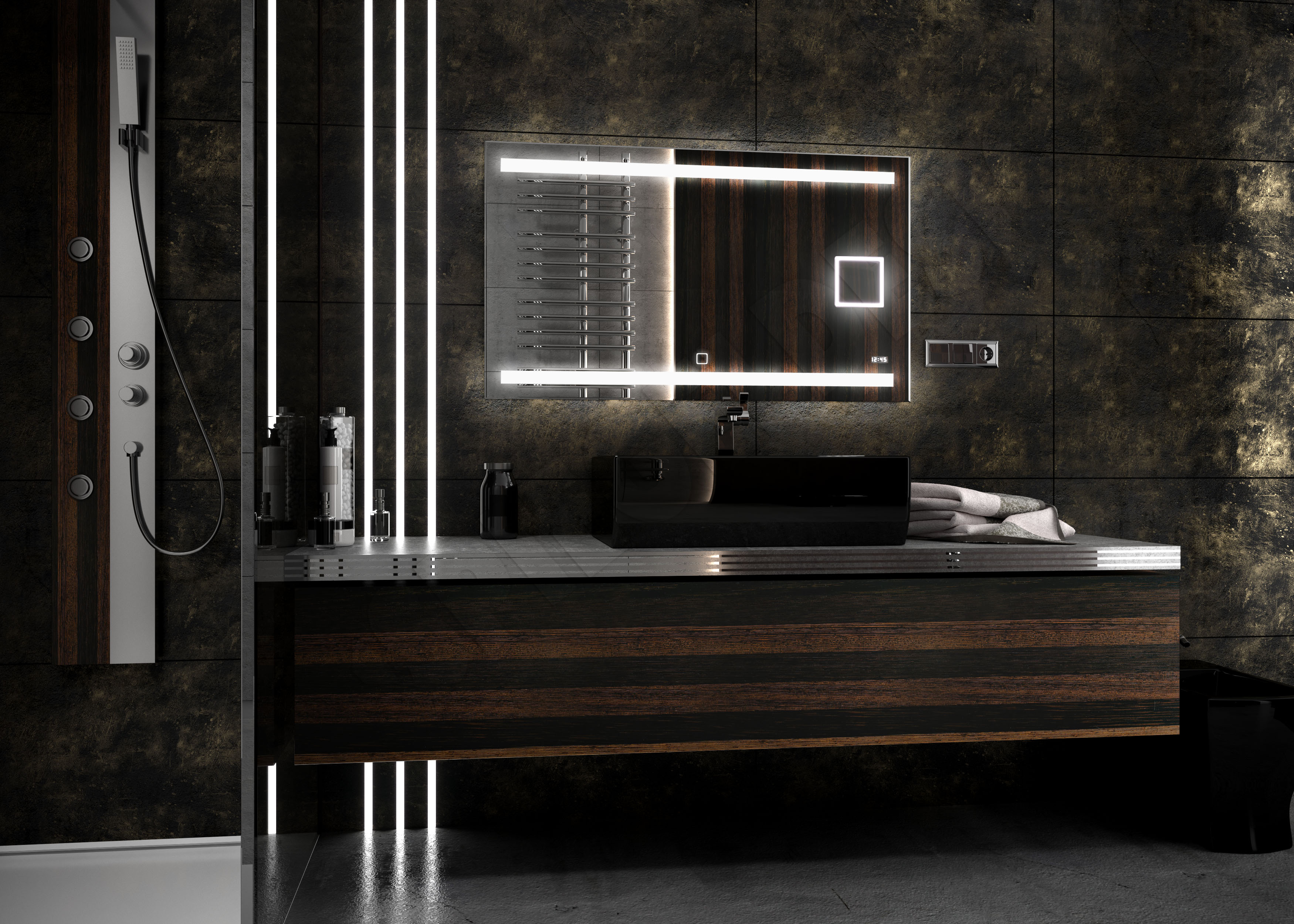 39 revoled 39 kosmetikspiegel uhr neu design led spiegel mit leduhr badspiegel ebay